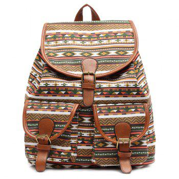 Ethnic Style Buckles and Geometric Print Design Women's Satchel