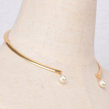 Faux Pearl Opening Necklace - GOLDEN