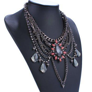 Rhinestone Multilayered Water Drop Necklace - BLACK