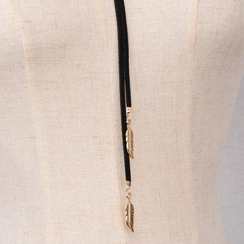 Embossed Feather Tassel Rope Wrap Necklace - BLACK