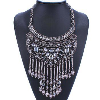 Rhinestone Alloy Water Drop Necklace - SILVER