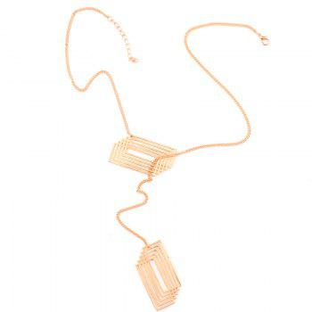Crossed Rectangle Hollowed Pendant Necklace