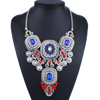 Faux Crystal Geometric Necklace - COLORMIX