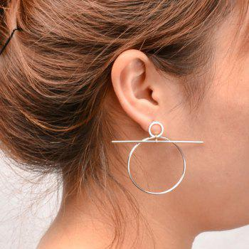 Pair of Gorgeous Solid Color Circle Stick Earrings For Women - SILVER