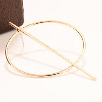 Pair of Circle Stick Earrings - GOLDEN