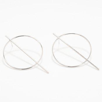 Pair of Circle Stick Earrings