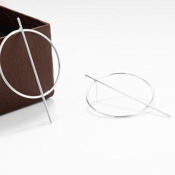 Pair of Circle Stick Earrings - SILVER
