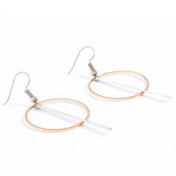 Pair of Circle Crossed Stick Drop Earrings - COLORMIX