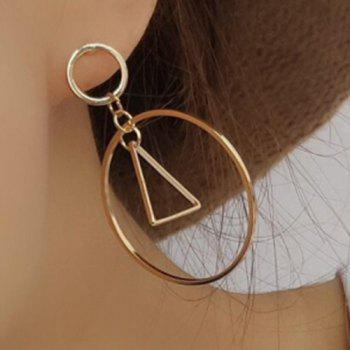 Pair of Hollowed Circle Square Drop Earrings - GOLDEN