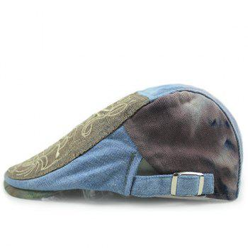 Fashion Embroidery Abstract Pattern Sun-Resistant Outdoor Denim Fabric Beret