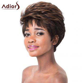 Shaggy Wave Capless Adiors Stylish Light Brown Highlight Short Synthetic Wig For Women - COLORMIX