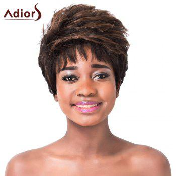 Shaggy Wave Capless Adiors Stylish Light Brown Highlight Short Synthetic Wig For Women