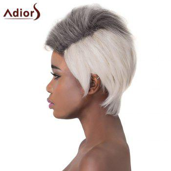 Fluffy Straight Black Mixed Gray Capless Adiors Trendy Short Layered Synthetic Wig For Women - COLORMIX