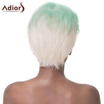 Fashionable Short Haircut Straight Synthetic Green Ombre White Adiors Wig For Women - OMBRE 2
