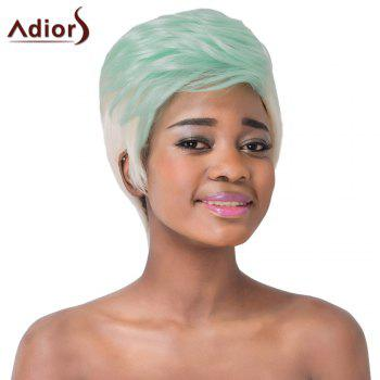 Fashionable Short Haircut Straight Synthetic Green Ombre White Adiors Wig For Women