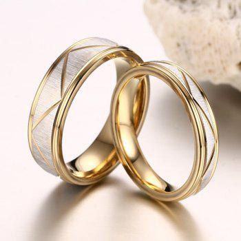 Pair of Engraved Lines Rings For Lovers - GOLDEN