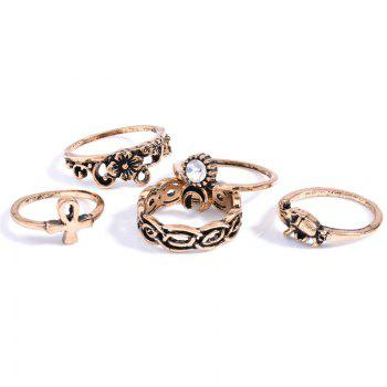 10 Pcs/Set Rhinestone Carving Elephant Flower Rings - GOLDEN