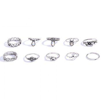 10 Pcs/Set Rhinestone Carving Elephant Flower Rings