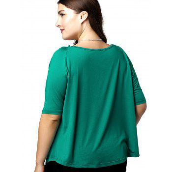 Fashionable Women's Loose-Fitting V-Neck 1/2 Sleeve Openwork Plus Size Top - JADE GREEN JADE GREEN