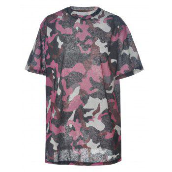 Trendy Women's Round Neck High Slit Camo Print T-Shirt - COLORMIX XL