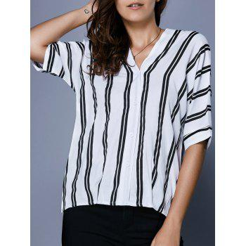 V Neck Button Up Striped Blouse - WHITE AND BLACK L