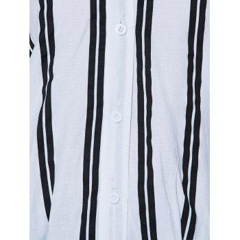 V Neck Button Up Striped Blouse - S S