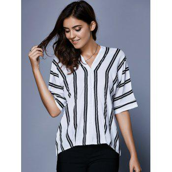 V Neck Button Up Striped Blouse - WHITE/BLACK S