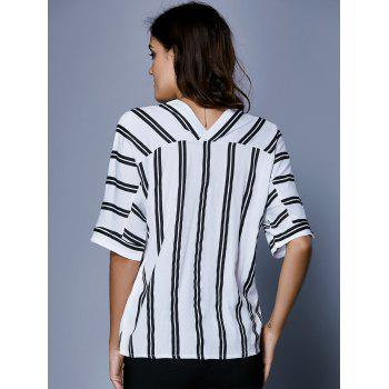 V Neck Button Up Striped Blouse - Blanc et Noir S