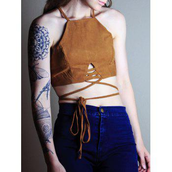 Alluring Spaghetti Strap Lace-Up Solid Color Women's Crop Top - COFFEE L