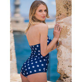 Chic Halter Ruffled Polka Dot One-Piece Women's Swimwear - M M