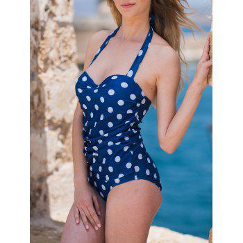 Chic Halter Ruffled Polka Dot One-Piece Women's Swimwear - BLUE M