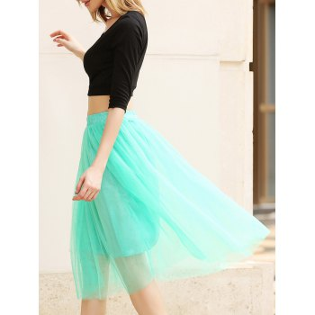Elastic Waist Puff Five Layers Tulle Skirt - GREEN FREE SIZE