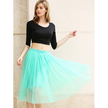Elastic Waist Puff Five Layers Tulle Skirt - FREE SIZE FREE SIZE