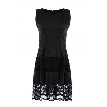 Chic Sleeveless Slash Collar Solid Color Lace Design Women's Dress