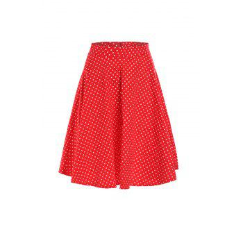 Charming Polka Dot Printed High Waist Ball Skirt For Women