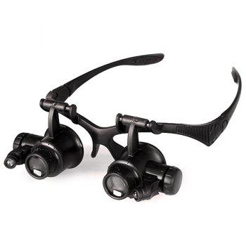 High Quality 4 x Lens Adjustable Loupe Headband Magnifying Glass with LED Light For Jeweler Watch Repair -  BLACK