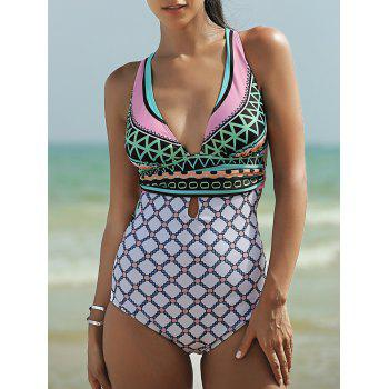 Women's Plunging Neck Backless One-Piece Swimsuit