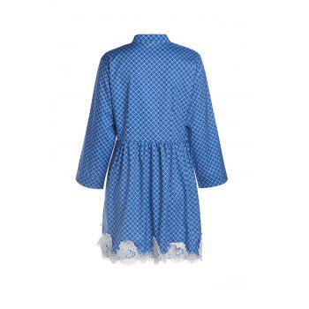 Casual Geometry Print Lace Splicing Long Sleeve Mini Dress For Women - BLUE M