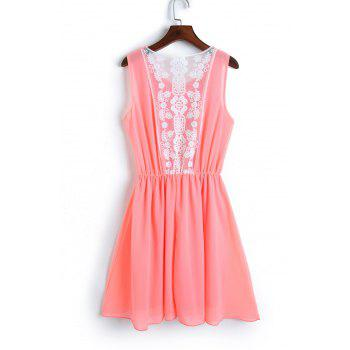 Stylish Scoop Neck Sleeveless Chiffon Lace Spliced Women's Dress