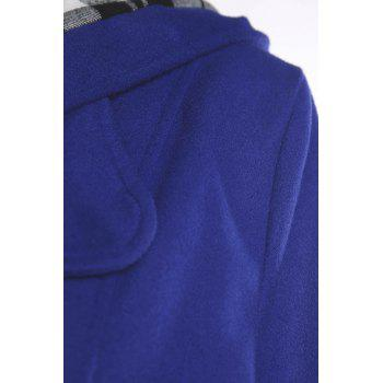 Stylish Double-Breasted Hooded Long Sleeve Worsted Coat For Women - SAPPHIRE BLUE L