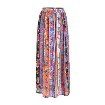 Stylish High Waisted Vintage Print Women's Maxi Skirt - JACINTH JACINTH