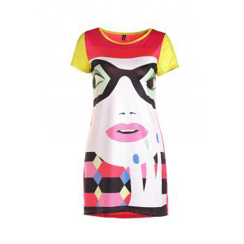 Stylish Round Neck Short Sleeve Cartoon Print Colorful High-Low Hem Women's Dress