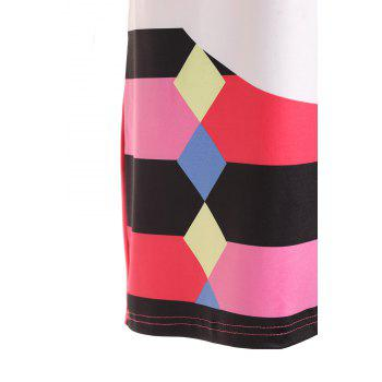 Stylish Round Neck Short Sleeve Cartoon Print Colorful High-Low Hem Women's Dress - COLORMIX M