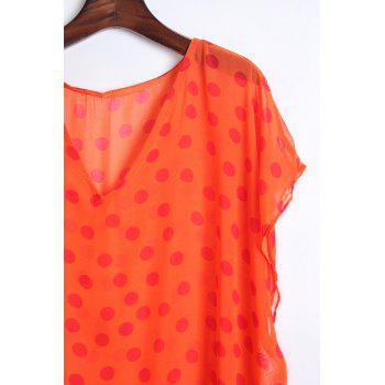 Stylish V Neck Half Sleeve Polka Dot Print Women's Cover Up - ORANGE ONE SIZE(FIT SIZE XS TO M)