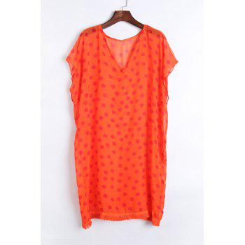 Stylish V Neck Half Sleeve Polka Dot Print Women's Cover Up