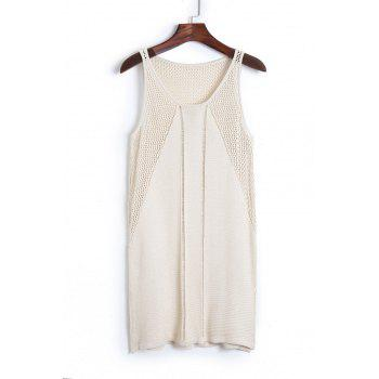 Buy Stylish Scoop Neck Sleeveless Solid Color Knit Women's Cover APRICOT