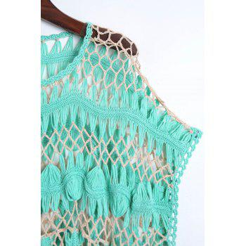 Short Sleeve Crochet Cover Up - GREEN ONE SIZE(FIT SIZE XS TO M)