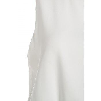 Stylish Round Neck Sleeveless Color Block Women's Maxi Dress - WHITE/GREEN XL