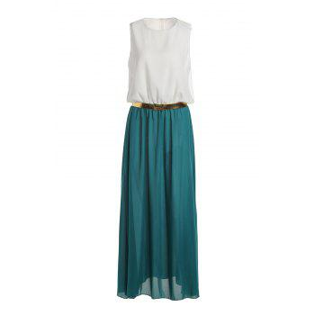 Stylish Round Neck Sleeveless Color Block Women's Maxi Dress