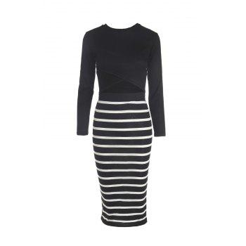 Sexy Style Round Neck Solid Color Long Sleeve Crop Top + Stripe Skirt For Women - BLACK BLACK